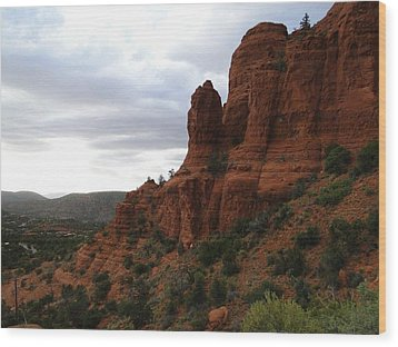 The Beautiful Hillside Of Sedona On A Cloudy Afternoon Wood Print
