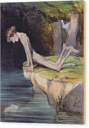 The Beautiful Narcissus Wood Print by Honore Daumier
