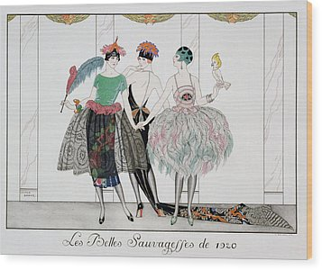 The Beautiful Savages Wood Print by Georges Barbier
