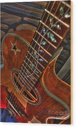 The Beauty Of A Six String Digital Guitar Art By Steven Langston Wood Print by Steven Lebron Langston