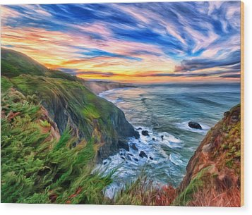 Wood Print featuring the painting The Beauty Of Big Sur by Michael Pickett