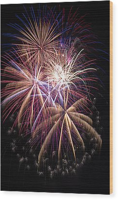 The Beauty Of Fireworks Wood Print by Garry Gay
