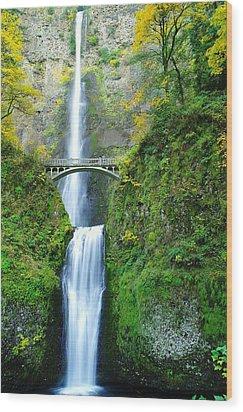 The Beauty Of Multnomah Falls Wood Print by Jeff Swan