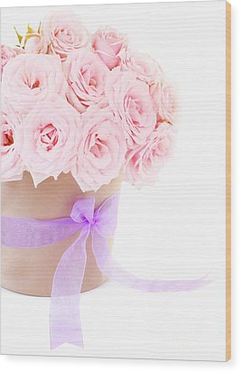 The Beauty Pink Roses Wood Print by Boon Mee