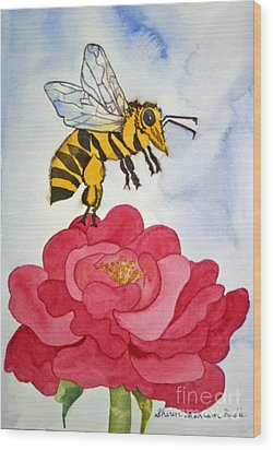 Wood Print featuring the painting The Bee And The Rose by Shirin Shahram Badie