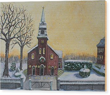 Wood Print featuring the painting The Bells Of St. Mary's by Rita Brown