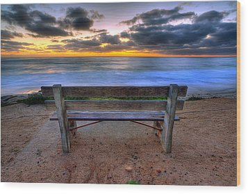The Bench II Wood Print by Peter Tellone