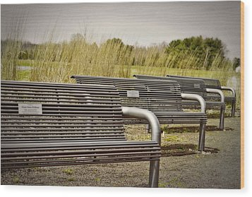 The Benches Wood Print by Tom Gari Gallery-Three-Photography