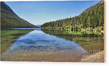 The Best Beach In Glacier National Park Panorama 2 Wood Print by Scotts Scapes