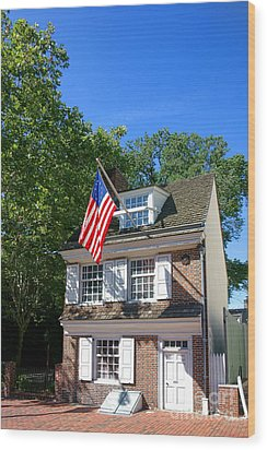 The Betsy Ross House Wood Print by Olivier Le Queinec