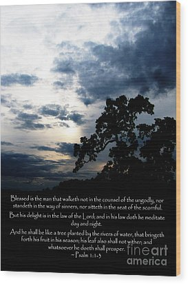 The Bible Psalm 1 Wood Print