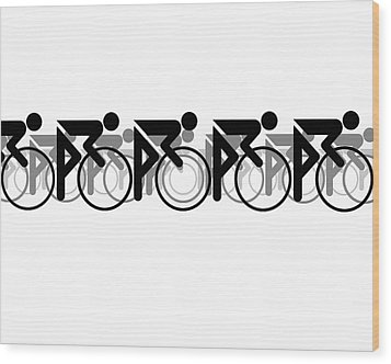 Wood Print featuring the digital art The Bicycle Race 2 White by Brian Carson