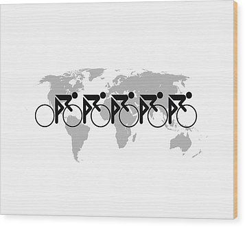Wood Print featuring the digital art The Bicycle Race 3 by Brian Carson