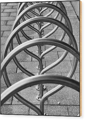 The Bicycle Rack Wood Print