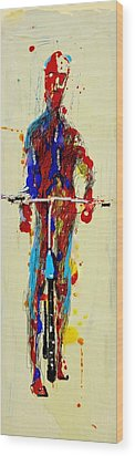 The Bicyclist Wood Print by Jean Cormier