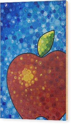 The Big Apple - Red Apple By Sharon Cummings Wood Print by Sharon Cummings