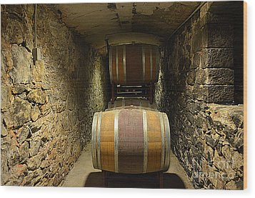 The Biltmore Estate Wine Barrels Wood Print by Luther Fine Art