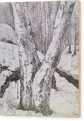 The Birches Wood Print