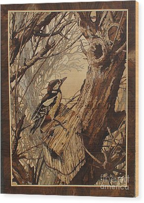The Bird And Tree Marquetry Wood Work Wood Print by Persian Art