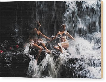 The Birth Of The Double Star. Anna At Eureka Waterfalls. Mauritius. Tnm Wood Print by Jenny Rainbow