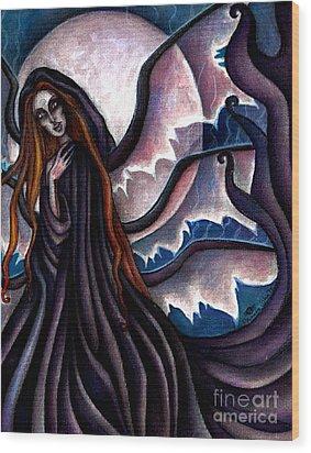 The Black Belladonna Wood Print by Coriander  Shea
