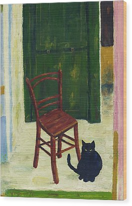 The  Black Cat Wood Print by Hartmut Jager