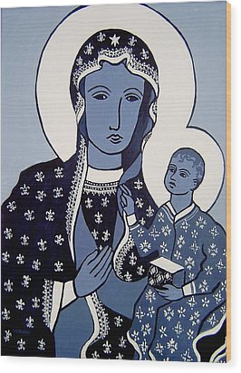 The Black Madonna In Blue Wood Print by John  Nolan