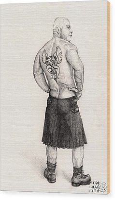 The Black Silk Kilt Wood Print