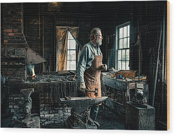 The Blacksmith - Smith Wood Print by Gary Heller