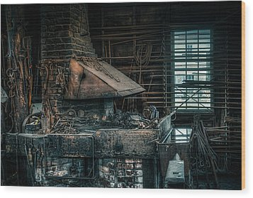 The Blacksmith's Forge - Industrial Wood Print by Gary Heller
