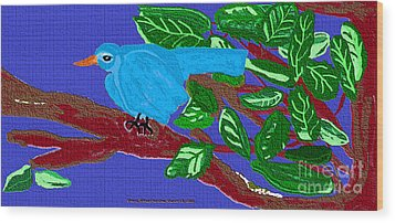 The Blue Bird Wood Print by Sherry  Hatcher