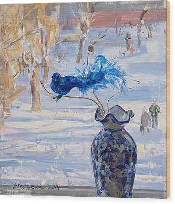 The Blue Bird Wood Print by Victoria Kharchenko