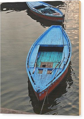 The Blue Boat Wood Print