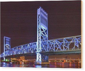 The Blue Bridge - Main Street Bridge Jacksonville Wood Print by Christine Till