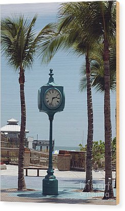 The Blue Clock Wood Print by Kathleen Struckle