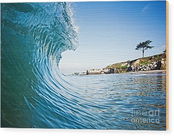 Wood Print featuring the photograph The Blue Curl by Paul Topp