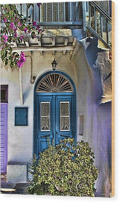 The Blue Door-santorini Wood Print