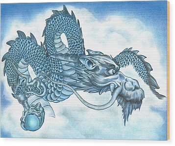 The Blue Dragon Wood Print