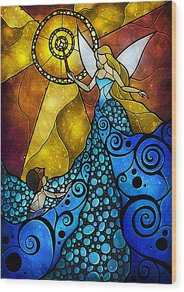The Blue Fairy Wood Print by Mandie Manzano