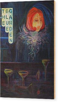 The Blue Garden Wood Print by Carolyn LeGrand