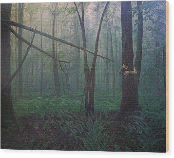 The Blue-green Forest Wood Print by Derek Van Derven