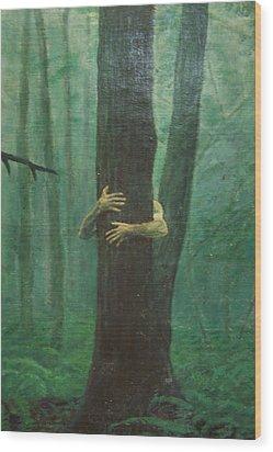 The Blue-green Forest Detail Wood Print by Derek Van Derven