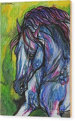 The Blue Horse On Green Background Wood Print by Angel  Tarantella