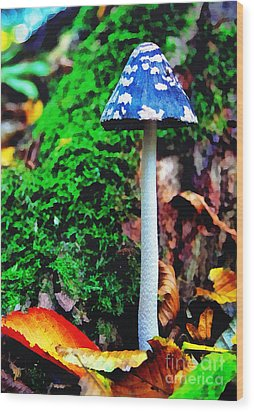 The Blue Mushroom Wood Print by Odon Czintos