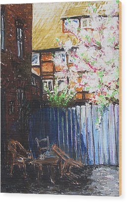 The Blue Paling - Backyard Of The Arthouse Buetzow Wood Print by Barbara Pommerenke