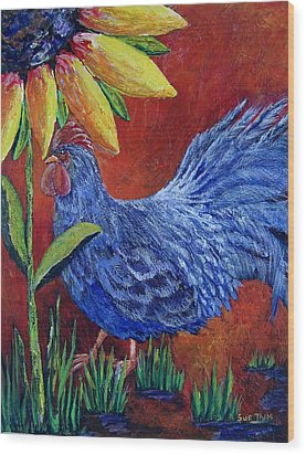 Wood Print featuring the painting The Blue Rooster by Suzanne Theis