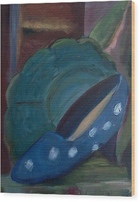 Wood Print featuring the painting The Blue Shoe And The Plate 2 by Darlene Berger