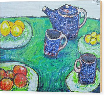 The Blue Teapot Wood Print by Clarence Major