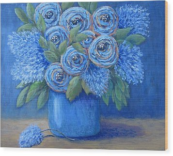 Wood Print featuring the painting The Blues by Suzanne Theis
