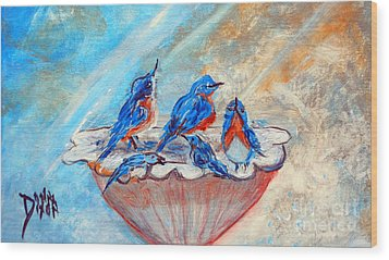 Wood Print featuring the painting The Blues by Donna Dixon